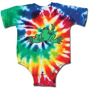 Kitty Hawk Kites, Peace Frogs Tie Dye Short Sleeve Infant Onesie